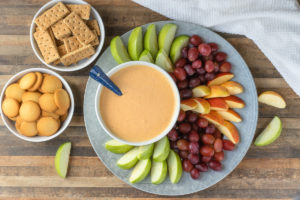 Overhead shot of Maple Pumpkin Fruit Dip and dippers